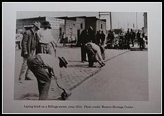 Enlosado de una calle de Billings (Montana) 1915