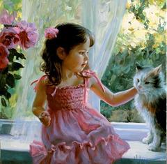 Fillette et chat, par Vladimir Volegov