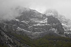 Snow streaked