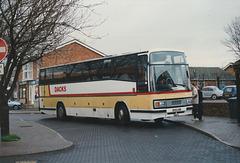 Dack (Rosemary Coaches) B493 UNB at Mildenhall - 10 Feb 1990