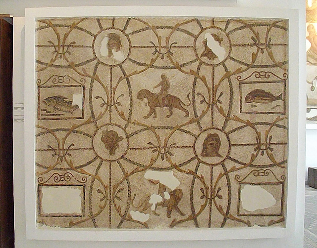 Mosaic from Utica with Erotes on a Panther and a Lion in the Bardo Museum, June 2014