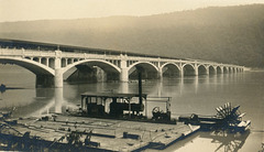 New and Old Clark's Ferry Bridges with Paddlewheel Coal Digger, July 26, 1925
