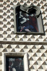 Casa dos bicos. Mur en relief, Lisbonne (Portugal)