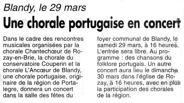 Concert Orfeão de Portalegre à Blandy-les-Tours le 29/03/1997