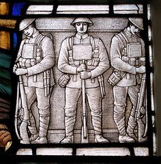 Detail of War Memorial Window, St Mary's Church, Weymouth, Dorset (c1922)