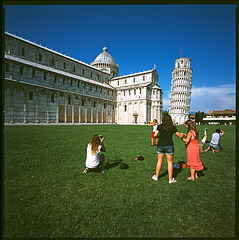 Posings at a leaning tower