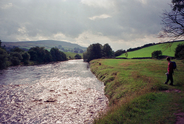 Late afternoon sun on the River Swale near Ewelop Hill and Grinton. (Aug 1993, scan)