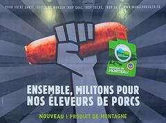 BESANCON: Publicité sur la saucisse de Morteau.