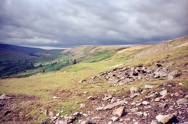 Looking northeast along Fremington Edge from near the disused Chert Quaries. (Aug 1993, scan)