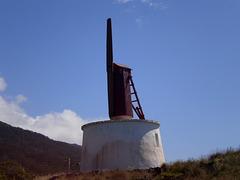 Wooden windmill.
