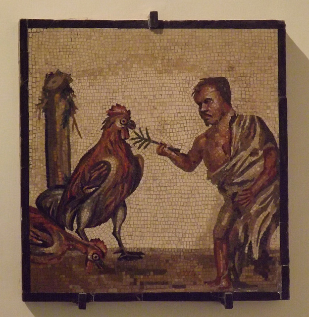 Mosaic with a Dwarf and Roosters in the Naples Archaeological Museum, July 2012