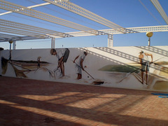 Mural about work on salt pits.