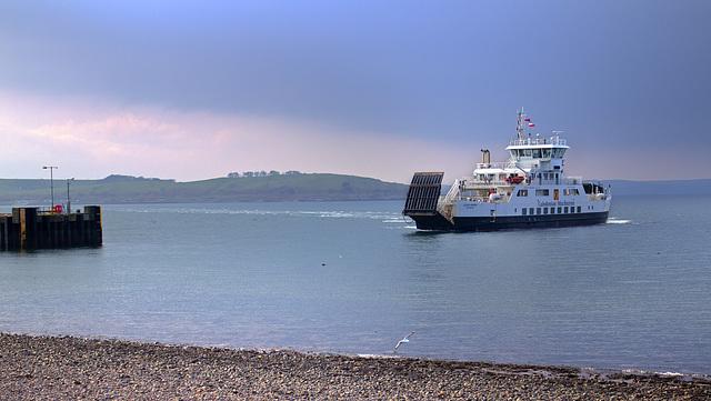 The MV 'Loch Shira' approaching Largs Ferry Terminal