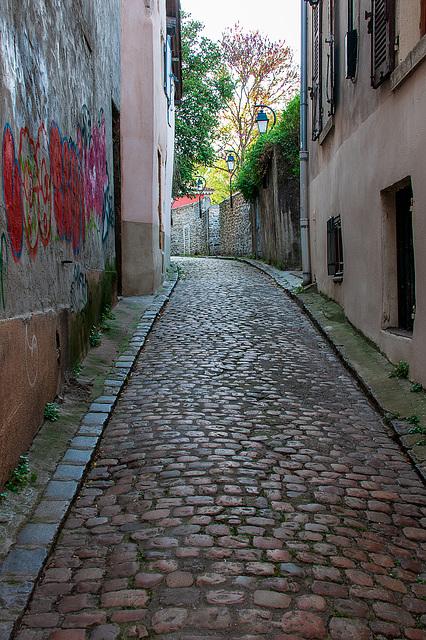 Encore en pavés une vieille rue ( Rue Vide Bourse ) sur la colline de Fourvière