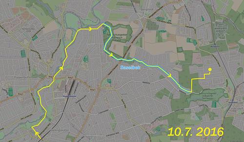 Karte an der Saselbek nach Volksdorf // wegstrecke-1