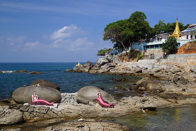 Mermaids in front of Myaw Yit Pagoda