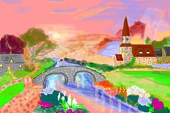 Paesaggio con chiesetta e ponticello