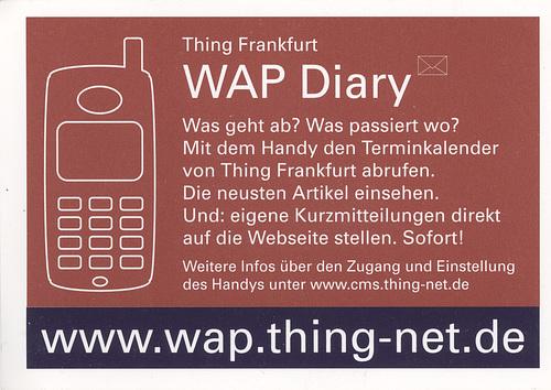 Flyer WAP Diary für Thing Frankfurt um das Jahr 2003