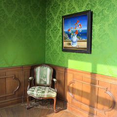 Room with Green Wallpaper