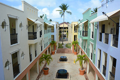 Dominican Republic, Narrow Street Passage between Cottages at the Ocean Blue & Sand Hotel
