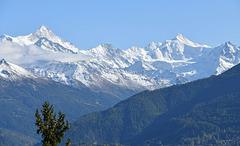 Les Alpes valaisannes enneigées avec le Weisshorn et le Zinalrothorn ...
