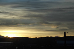 Winter sunset with wires