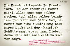 Postkarte Die Kunst ist kaputt in Frankfurt. --- kunst-kaputt-1 copy