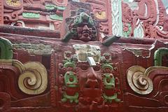Honduras, Painted Mockup of a Mayan Building in Copan Ruinas Museum