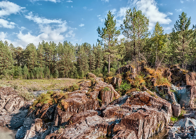 Rock formations on the shore of Katun River