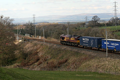 DB Cargo class 66 66160 with 4S49 11:12 Daventry - Grangemouth Intermodal at Great Strickland 13th April 2019.