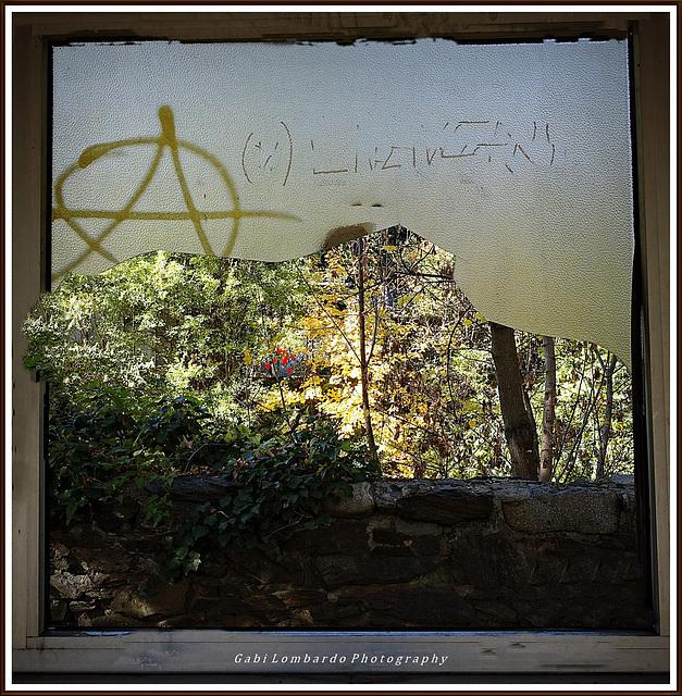 view behind a broken glass
