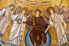 Ravenna 2017 – Basilica of San Vitale – Jesus handing a martyr's crown to San Vitale