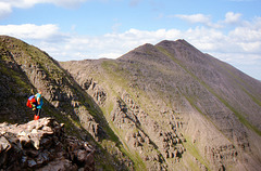 Bill Hart on the An Teallach ridge with Glas Mheall Mor to the Right 25th June 1999.