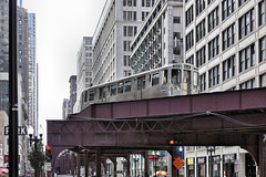 "The ""L"" Train to Kimball – Viewed from the Corner of Wabash and Lake Streets, Chicago, Illinois, United States"