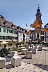 Worms - Am Schlossplatz mit Blick zur Dreifaltigkeitskirche