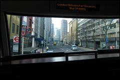 bus stopping at London Met
