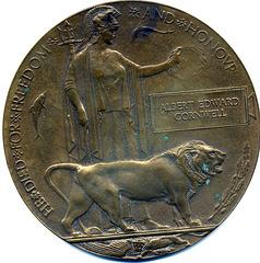 Gun metal plaque aka Death Penny, 4 3/4 inches in diameter for Albert Edward Cornwell, first born child of Albert Edward and Elizabeth (Emma) Cornwell, killed in 1914-18 war
