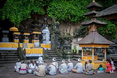 Worshippers in Pura Goa Lawah
