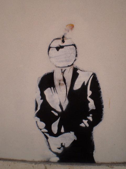 Stencil on walled window.