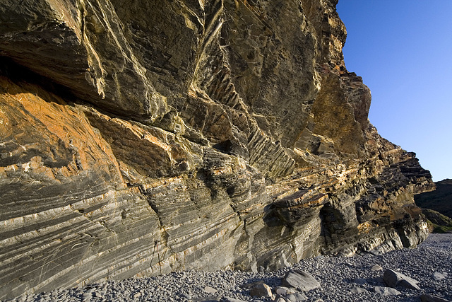 Folded and inverted turbidites at Millook Haven, Cornwall