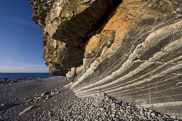 Upside-down rocks at Millook Haven, Cornwall