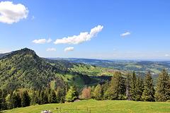 Blick von der Prodel Alpe nach Steibis und Richtung Oberschwaben