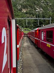 Bernina Red Train - Between two trains, Switzerland