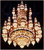 Mascate :Il grande lampadario centrale nella Moskea Sultan Qaboos di cristalli Svarovski è alto 14 metri e pesa 8 tonnellate