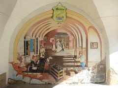 Malnovtempa murpentraĵo en la arkaĵaro de la ĉefa placo en Svitavy