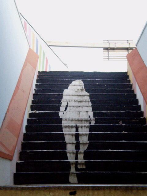 Stair steps of underground gallery.