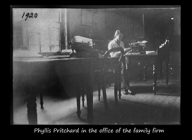 Phyllis Pritchard in the firm's office 1920