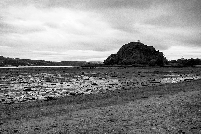 Dumbarton Rock from the Foreshore at Low Tide