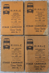 DSCF2049 Set of four Ribble stage carriage timetable books 1957/1958