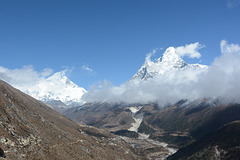 Khumbu, Lhotse (8516) and Ama Dablam (6814m) in Clouds